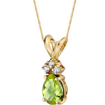 14 Karat Yellow Gold Pear Shape 0.75 Carats Peridot Diamond Pendant