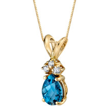 14 Karat Yellow Gold Pear Shape 0.75 Carats London Blue Topaz Diamond Pendant P9700