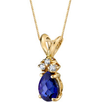 14 Karat Yellow Gold Pear Shape 1.00 Carats Created Blue Sapphire Diamond Pendant P9704
