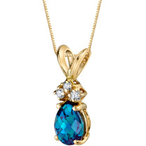 14 Karat Yellow Gold Pear Shape 1.00 Carats Created Alexandrite Diamond Pendant P9708