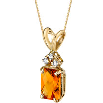 14 Karat Yellow Gold Radiant Cut 1.00 Carats Citrine Diamond Pendant P9716