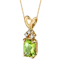 14 Karat Yellow Gold Radiant Cut 1.00 Carats Peridot Diamond Pendant P9720