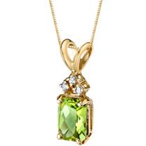 14 Karat Yellow Gold Radiant Cut 1.00 Carats Peridot Diamond Pendant P9720