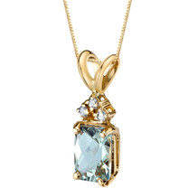 14 Karat Yellow Gold Radiant Cut 1.00 Carats Green Amethyst Diamond Pendant P9722