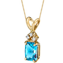 14 Karat Yellow Gold Radiant Cut 1.00 Carats Swiss Blue Topaz Diamond Pendant P9724