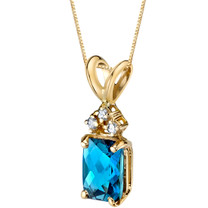 14 Karat Yellow Gold Radiant Cut 1.00 Carats London Blue Topaz Diamond Pendant P9726