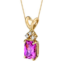 14 Karat Yellow Gold Radiant Cut 1.25 Carats Created Pink Sapphire Diamond Pendant P9732