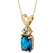 14 Karat Yellow Gold Radiant Cut 1.25 Carats Created Alexandrite Diamond Pendant P9734