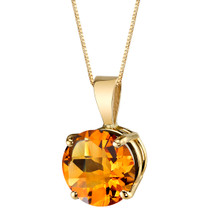 14 Karat Yellow Gold Round Cut 1.75 Carats Citrine Pendant P9744