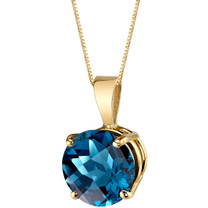 14 Karat Yellow Gold Round Cut 2.50 Carats London Blue Topaz Pendant P9750