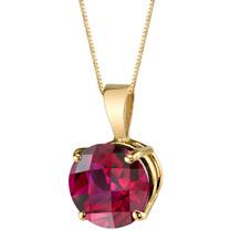 14 Karat Yellow Gold Round Cut 2.50 Carats Created Ruby Pendant P9752
