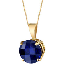 14 Karat Yellow Gold Round Cut 2.50 Carats Created Blue Sapphire Pendant P9754