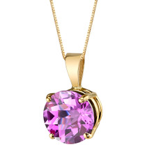 14 Karat Yellow Gold Round Cut 2.50 Carats Created Pink Sapphire Pendant P9756