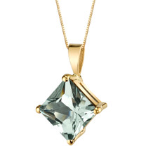 14 Karat Yellow Gold Princess Cut 2.25 Carats Green Amethyst Pendant P9766