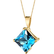 14 Karat Yellow Gold Princess Cut 3.00 Carats Swiss Blue Topaz Pendant P9768