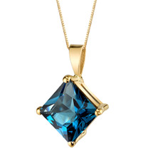 14 Karat Yellow Gold Princess Cut 3.00 Carats London Blue Topaz Pendant P9770