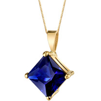 14 Karat Yellow Gold Princess Cut 3.50 Carats Created Blue Sapphire Pendant P9774