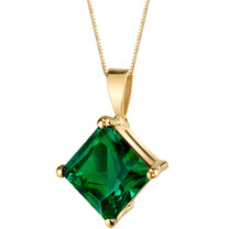 14 Karat Yellow Gold Princess Cut 2.25 Carats Created Emerald Pendant P9780