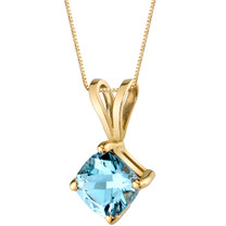 14 Karat Yellow Gold Cushion Cut 0.75 Carats Aquamarine Pendant P9782