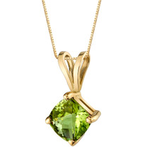 14 Karat Yellow Gold Cushion Cut 1.00 Carats Peridot Pendant P9790