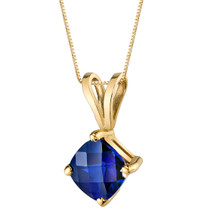14 Karat Yellow Gold Cushion Cut 1.00 Carats Created Blue Sapphire Pendant P9800