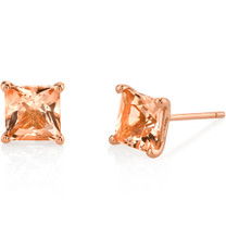 14K Rose Gold Princess Cut 2.00 Carats Morganite Stud Earrings E19126