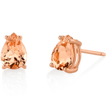 14K Rose Gold Pear Shape 1.00 Carats Morganite Stud Earrings E19130