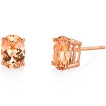 14K Rose Gold Oval Shape 1.50 Carats Morganite Stud Earrings