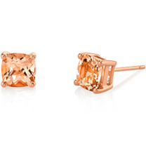 14K Rose Gold Cushion Cut 1.50 Carats Morganite Stud Earrings E19134
