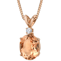 14 Karat Rose Gold Oval Shape 2.00 Carats Morganite Diamond Pendant P9810