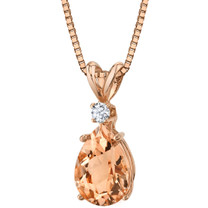 14 Karat Rose Gold Pear Shape 1.50 Carats Morganite Diamond Pendant