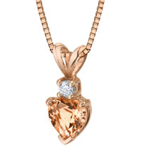 14 Karat Rose Gold Heart Shape 0.75 Carats Morganite Diamond Pendant P9814