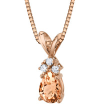 14 Karat Rose Gold Pear Shape 0.50 Carats Morganite Diamond Pendant P9818