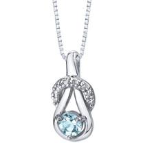 Aquamarine Ribbon Pendant Necklace Sterling Silver 0.50 carats SP11364
