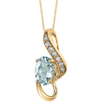 14K Yellow Gold Aquamarine Slider Pendant 3/4 carat  P9932