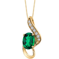 14K Yellow Gold Created Emerald Slider Pendant 3/4 carat P9934