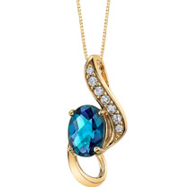 14K Yellow Gold Created Alexandrite Slider Pendant 1.00 carat P9936