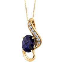 14K Yellow Gold Created Sapphire Slider Pendant 1.00 carat P9940