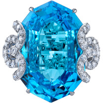 20.75 carats Swiss Blue Topaz Diamond Imperial Ring 14K White Gold