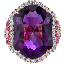 15.25 carats Amethyst Diamond and Pink Sapphire Ring 14K Rose Gold