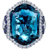 21.70 carats London Blue Topaz Diamond and Sapphire Ring 14K White Gold