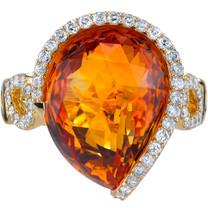 10.10 carats Citrine Diamond Stardust Ring 14K Yellow Gold