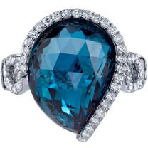 13.75 carats London Blue Topaz Diamond Ring 14K White Gold