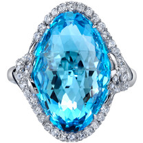 17.00 carats Swiss Blue Topaz Diamond Empress Ring 14K White Gold