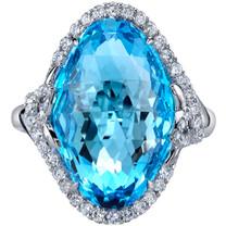 17.00 carats Swiss Blue Topaz Diamond Empress Ring 14K White Gold