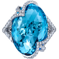 17.00 carats Swiss Blue Topaz Diamond Celestial Ring 14K White Gold