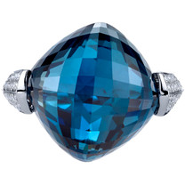 26.25 carats London Blue Topaz Diamond Crown Ring 14K White Gold