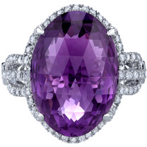 11.75 carats Amethyst Diamond Calypso Ring 14K White Gold