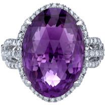 11.75 carats Amethyst Diamond Calypso Ring 14K White Gold