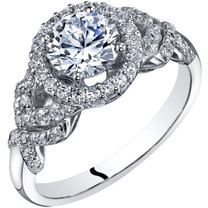 14k White Gold Peora Simulated Diamond Engagement Ring 1.00 Carat Center Halo Style Sizes 4-10